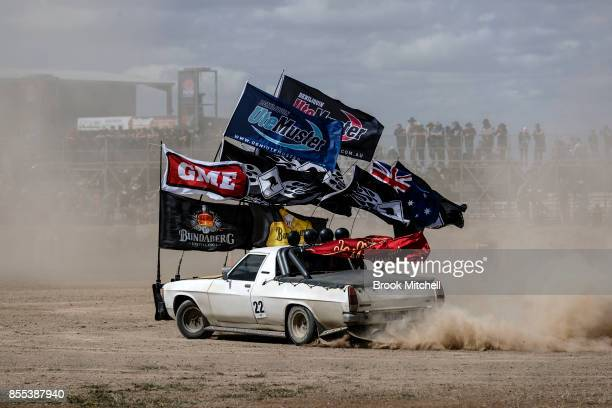 A competitor in the 'Circle Work' Ute competition at the 2017 Deni Ute Muster on September 29 2017 in Deniliquin Australia The annual Deniliquin Ute...