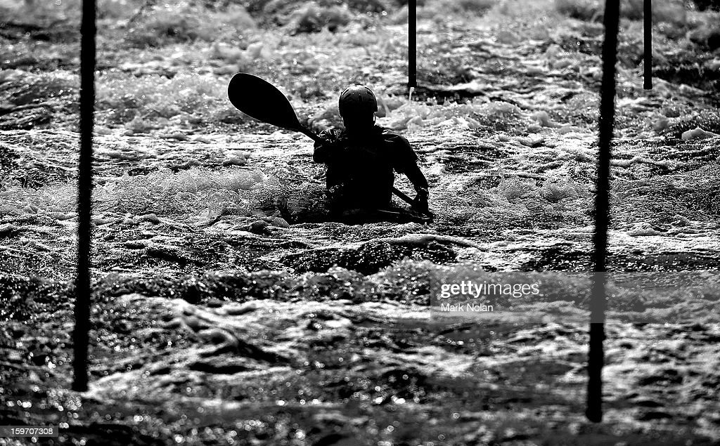 A competitor in the Men's Kayak negotiates the gates during day four of the Australian Youth Olympic Festival at the Penrith White Water Stadium on January 19, 2013 in Sydney, Australia.