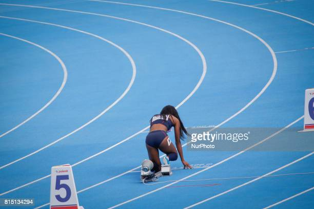 A competitor is seen at the start of the 400 meter womens finals of the European U23 IAAF Championships on 14 July 2017