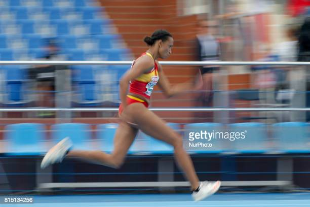 A competitor is seen in the womens triple jump on 14 July 2017 in Bydgoszcz Poland during the European U23 IAAF Championships