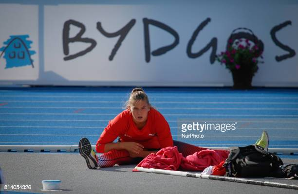 A competitor is seen warming up during the U23 European Athletics Championships on 13 July 2017 in Bydgoszcz Poland