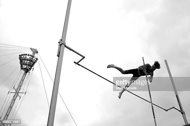 A competitor jumps in the mens U18 pole vault event during the Australian Junior Athletics Championships at Sydney Olympic Park on March 13 2015 in...