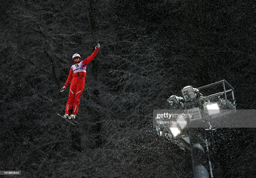 A competitor makes a jump during the FIS World Cup Freestyle Ariels competition at the Rosa Khutor Extreme Park in Krasnya Polyana on February 17, 2013 in Sochi, Russia. Sochi is preparing for the 2014 Winter Olympics with test events across the venues.