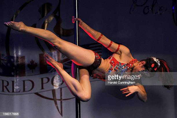 A competitor participate at the World Pole Dancing Championship 2012 held at the Volkshaus on November 10 2012 in Zurich Switzerland