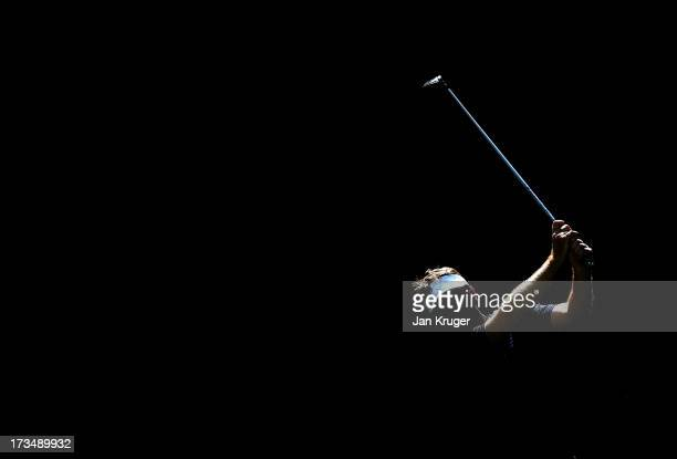 A competitor plays his tee shot during The Lombard Trophy Regional Qualifier at King's Lynn Golf Club on July 15 2013 in King's Lynn England