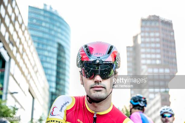 A competitor prepares for the race at the Velothon Berlin on June 18 2017 in Berlin Germany