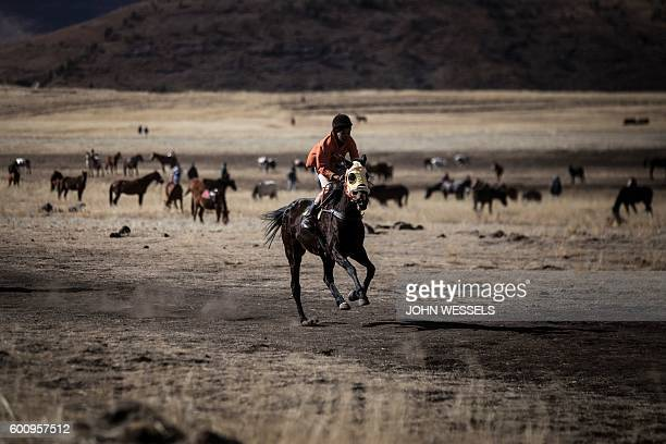 A competitor races through the fields on July 16 2016 in Semonkong Horseracing in the mountain kingdom of Lesotho is not like at Ascot or Longchamp...