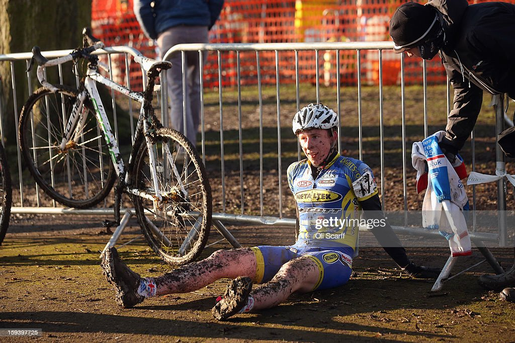 A competitor relaxes after taking part in the 'Mens Under 23' category race at the 2013 National Cyclo-Cross Championships in Peel Park on January 13, 2013 in Bradford, England. The sport of cyclo-cross, featuring ,lightweight bikes with off-road tyres, has dramatically increased in popularity over the past few years. Cyclo-cross courses are often run over a mixture of terrains from tarmac to mud and frequently include obstacles or steep inclines where riders have to carry their bike.