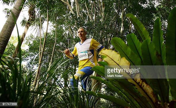 A competitor runs the course during the mens Orienteering during day two of the 2009 Sydney World Masters Games at Sydney Olympic Park on October 11...