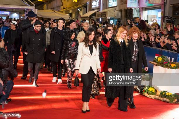 Competitor singers attends the Red Carpet of 67° Sanremo Music Festival Sanremo February 6 2017