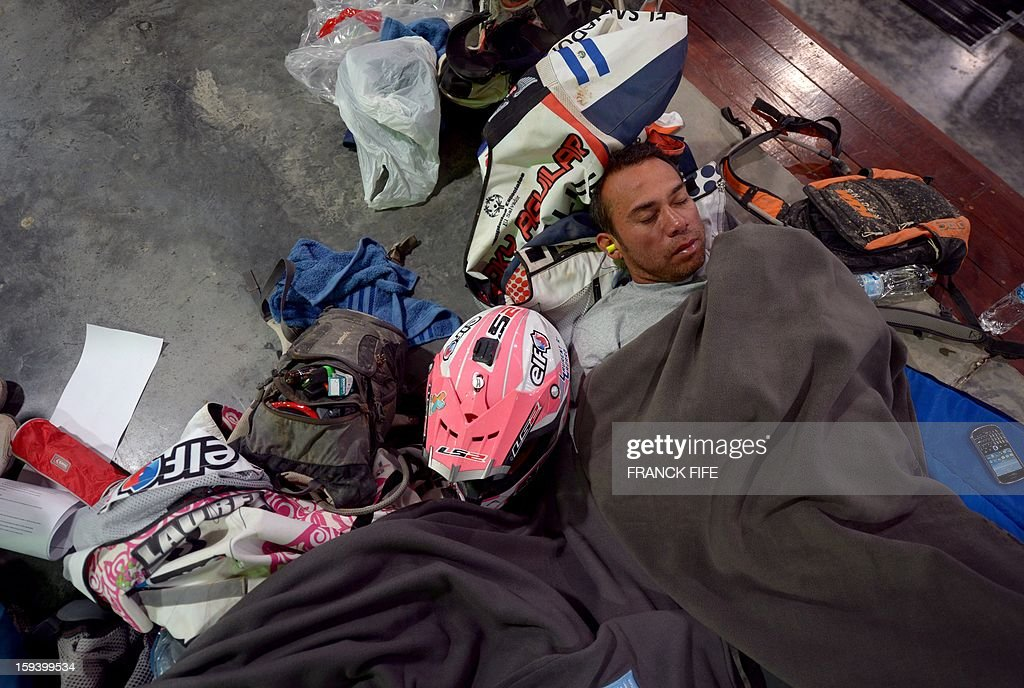 A competitor sleeps in Cachi after the Stage 7 of the Dakar Rally 2013 between Calama and Salta, Argentina, on January 11, 2013. The rally takes place in Peru, Argentina and Chile January 5-20.