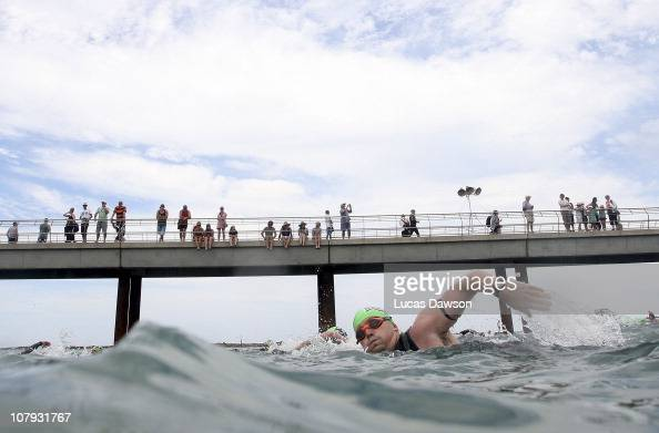 Competitor starts the race during the 2011 Lorne Pier to Pub on January 8 2011 in Lorne Australia