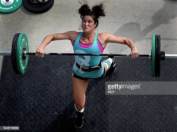 A competitor stresses during CrossFit Integrity the Integrity's Revenge Battle of Charleston CrossFit games October 6 2012 in Charleston South...