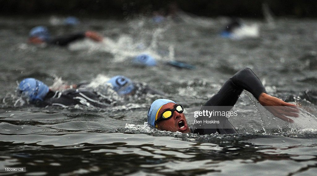 A competitor swims during the Challenge Henley-on-Thames Triathlon on September 16, 2012 in London, England.
