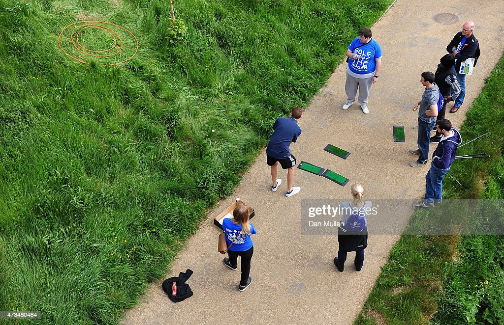 A competitor takes his tee shot on the 4th hole during the UK Cross Golf Open at Queen Elizabeth Olympic Park on May 15, 2015 in London, England.