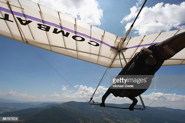 A competitor takes off from Chabre hill during the 17th FAI World Hang Gliding Championships on June 30 2009 in LaragneMonteglin France