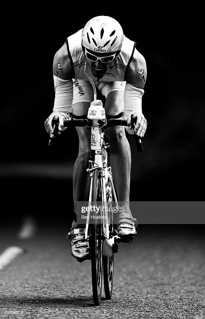 A competitor takes part in the cycle leg during the Challenge Henley-on-Thames Triathlon on September 16, 2012 in London, England.