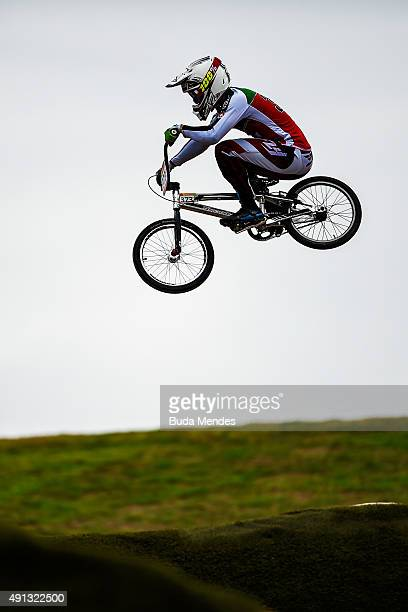A competitor takes part in the International BMX Cycling Challenge at the Rio 2016 Olympic Games BMX cycling track which is part of the XPark at the...