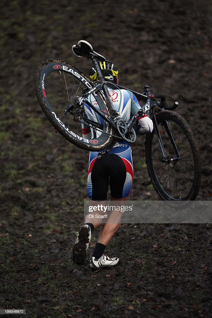 A competitor takes part in the 'Veteran 40-49 Men' category race at the 2013 National Cyclo-Cross Championships in Peel Park on January 12, 2013 in Bradford, England. The sport of cyclo-cross, featuring lightweight bikes with off-road tyres, has dramatically increased in popularity over the past few years. Cyclo-cross courses are often run over a mixture of terrains from tarmac to mud and frequently include obstacles or steep inclines where riders have to carry their bike.