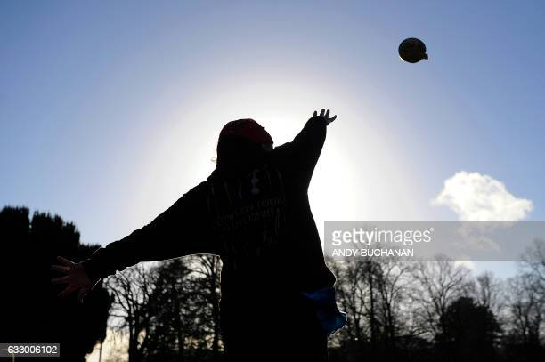 TOPSHOT A competitor throws a haggis during the 2017 World Haggis Hurling Championships at Burns Cottage in Alloway Ayrshire Scotland The Haggis...