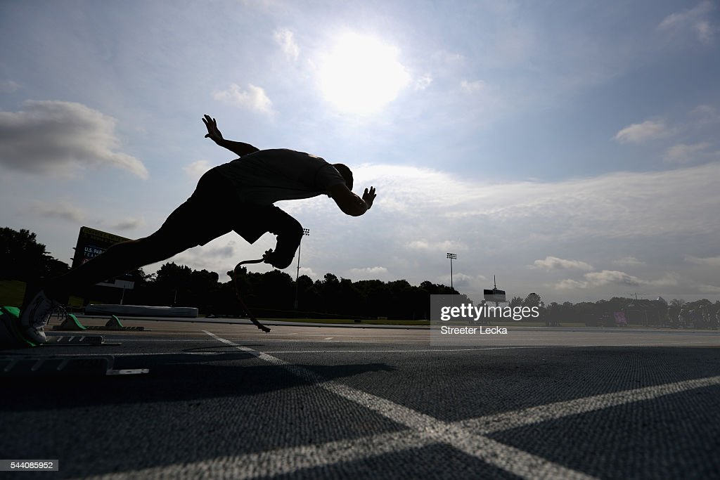 A competitor trains ahead of the preliminaries for the 2016 U.S. Paralympics Trials in Track and Field at Irwin Belk Complex at Johnson C. Smith University on July 1, 2016 in Charlotte, North Carolina.
