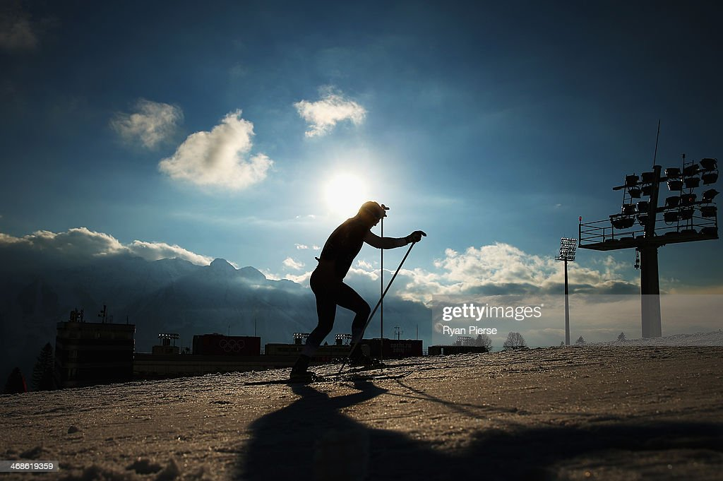 A competitor trains before the Biathlon Women's 10km Pursuit during the Sochi 2014 Winter Olympics at Laura Cross-country Ski & Biathlon Center on February 11, 2014 in Sochi, Russia.