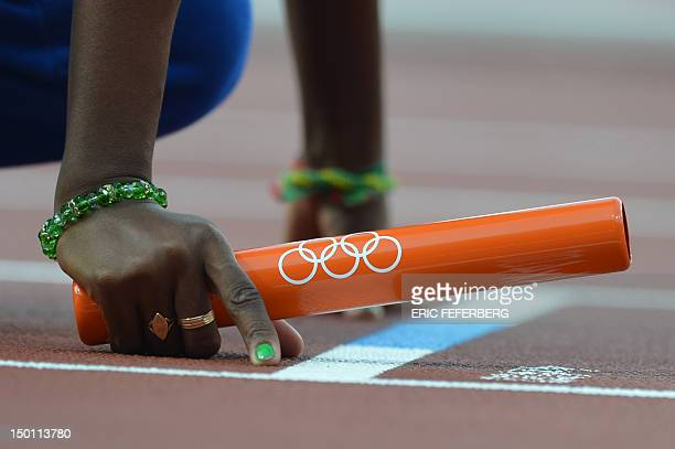 A competitor waits in the starting block before competing in the women's 4 x 400m relay heats at the athletics event of the London 2012 Olympic Games...