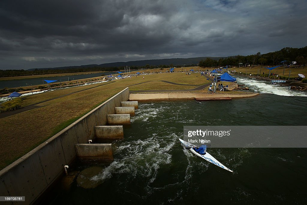 A competitor waits to the start in the Women's Kayak during day four of the Australian Youth Olympic Festival at the Penrith White Water Stadium on January 19, 2013 in Sydney, Australia.