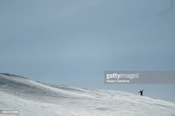A competitor walks up the summit during the Buller X on September 21 2017 in Mount Buller Australia