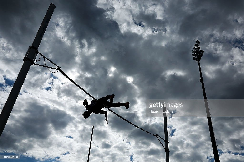 A competitor warms up in the men's senior pole vault during the New Zealand Track and Field Championships at Mt Smart Stadium on March 23, 2013 in Auckland, New Zealand.