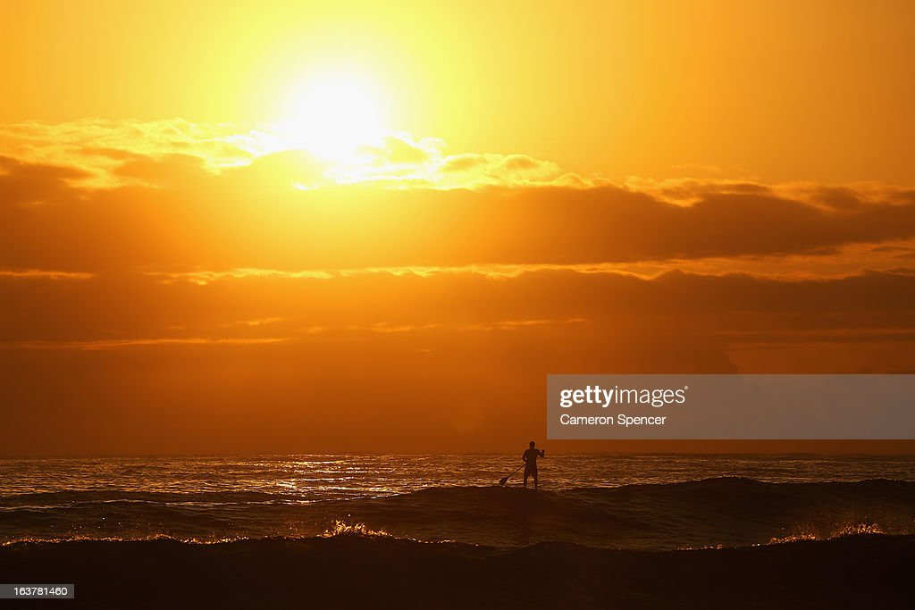 A competitor warms up prior to racing in the Paddle to Battle MS stand up paddle boarding race at Collaroy Beach on March 16, 2013 in Sydney, Australia. The inaugural event was organised to raise awareness and funds for Multiple Sclerosis Research in Australia.