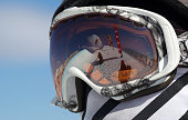 A competitor watches the action reflected in her goggles in the Halfpipe Finals during The North Face Freeski Open at Snow Park Wanaka New Zealand...