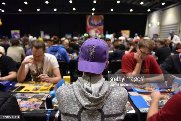 A competitor wears a Mewtwo cap at the Pokemon European International Championships at ExCel on November 17 2017 in London England Thousands of...