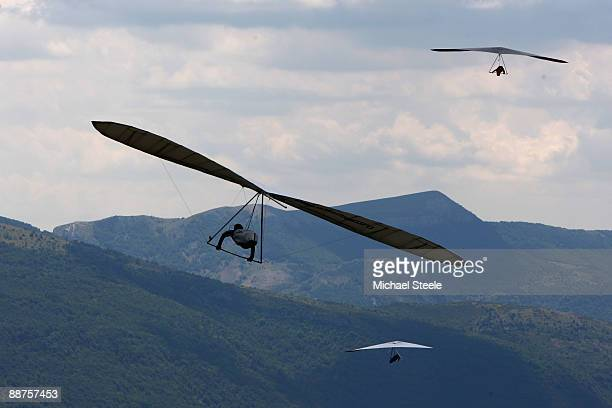 Competitors above Chabre hill during the 17th FAI World Hang Gliding Championships on June 30 2009 in LaragneMonteglin France