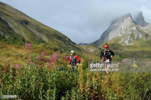 Competitors are seen during the Ultra Trial race a 163km race around the Mont Blanc crossing France Italy and Swiss on August 27 2011 near the Lac...