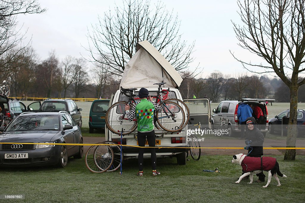 Competitors arrive at the course before the day's racing at the 2013 National Cyclo-Cross Championships in Peel Park on January 13, 2013 in Bradford, England. The sport of cyclo-cross, featuring ,lightweight bikes with off-road tyres, has dramatically increased in popularity over the past few years. Cyclo-cross courses are often run over a mixture of terrains from tarmac to mud and frequently include obstacles or steep inclines where riders have to carry their bike.