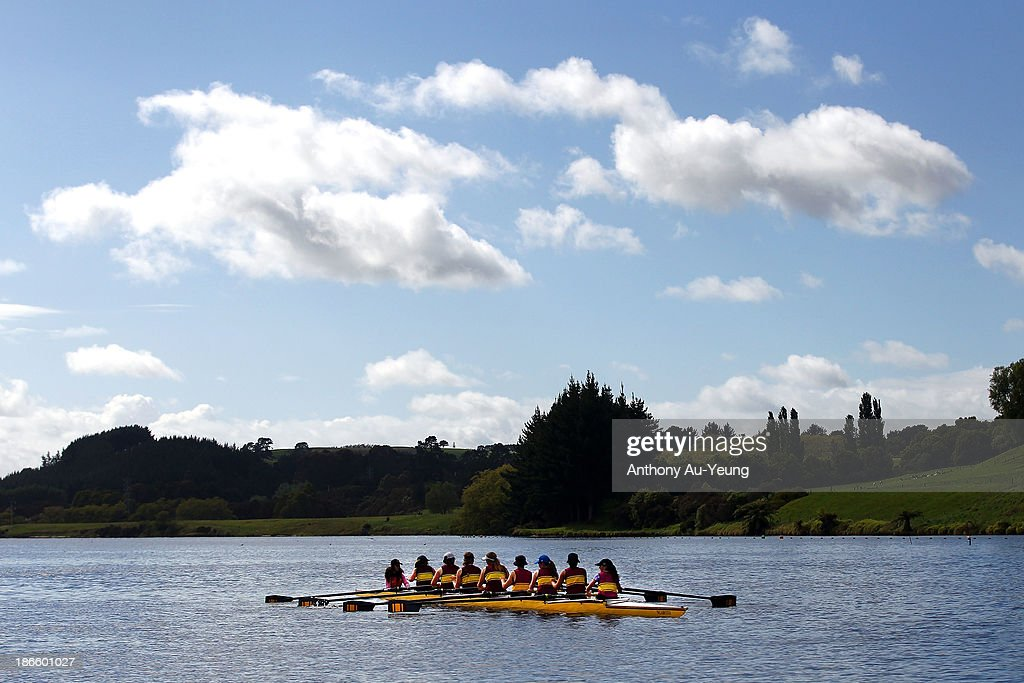 Competitors await at the start during the Te Awamutu Rowing Clubs Annual Club Regatta at Lake Karapiro on November 2, 2013 in Karapiro, New Zealand.