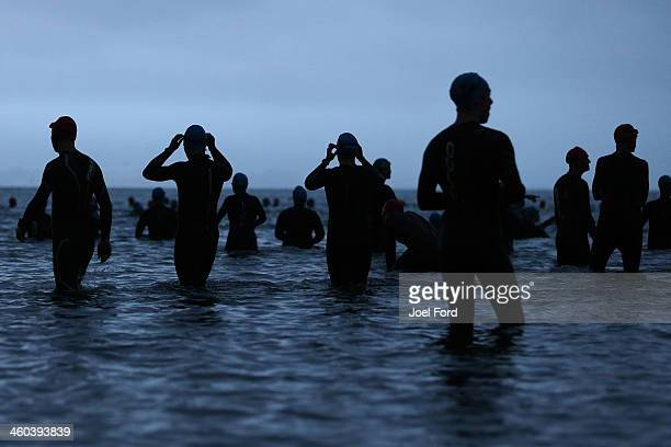 Competitors await the start of the Port of Tauranga 1/2 Ironman on January 4 2014 in Tauranga New Zealand