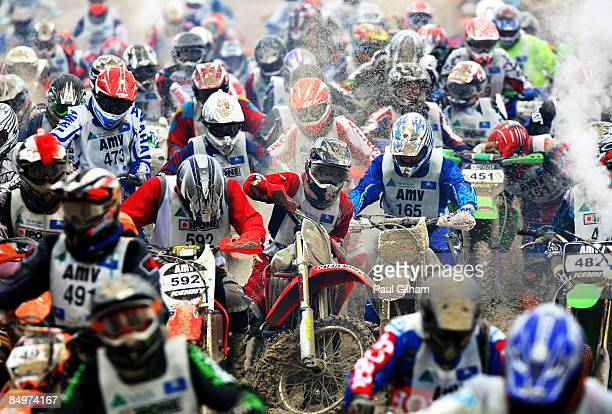Competitors battle to cross the finish line on the 173 kilometre circuit during the Enduropale race featuring over 1000 motorbikes in the 4th...