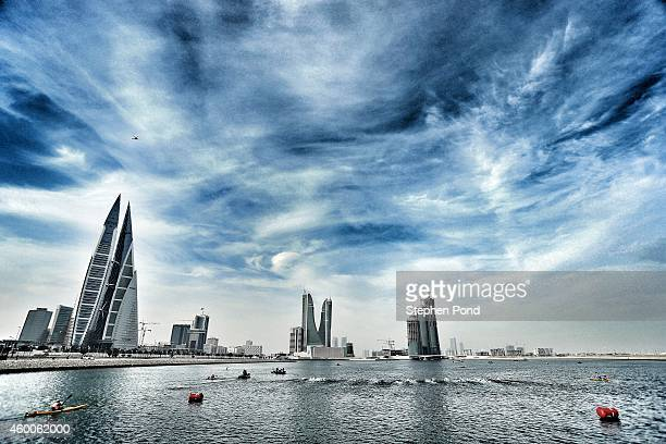 Competitors begin the race at the swim start during the Challenge Triathlon Bahrain on December 06 2014 in Bahrain Bahrain