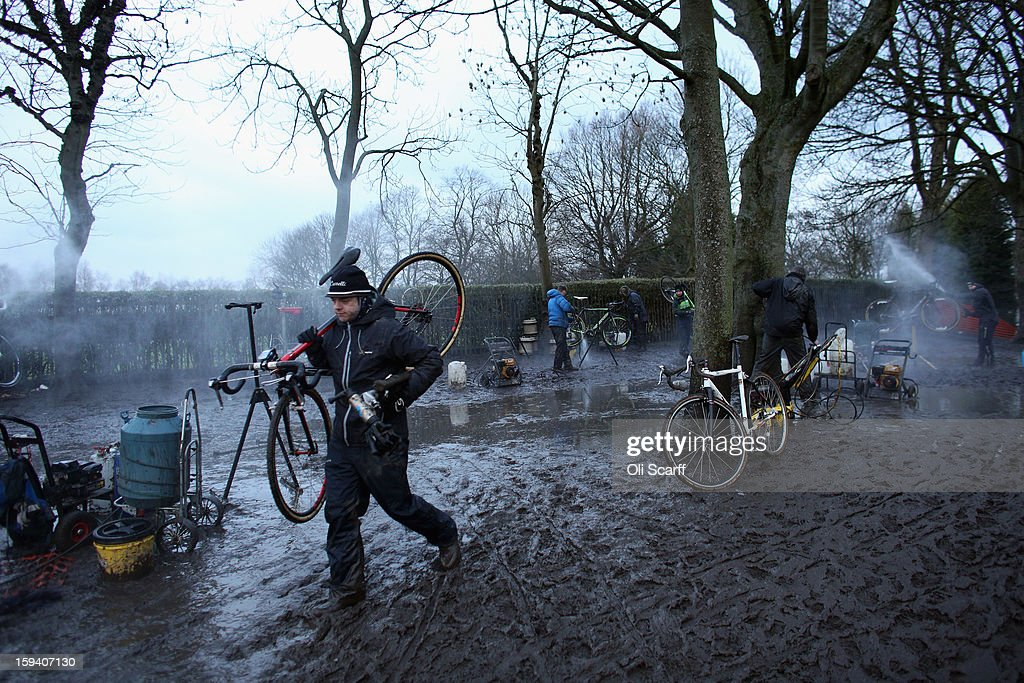 Competitors' bikes are pressure-washed following the 2013 National Cyclo-Cross Championships in Peel Park on January 13, 2013 in Bradford, England. The sport of cyclo-cross, featuring ,lightweight bikes with off-road tyres, has dramatically increased in popularity over the past few years. Cyclo-cross courses are often run over a mixture of terrains from tarmac to mud and frequently include obstacles or steep inclines where riders have to carry their bike.
