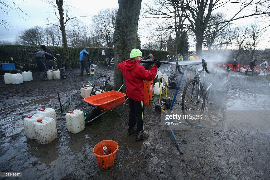 Competitors' bikes are pressure-washed following the 'Veteran 40-49 Men' category race at the 2013 National Cyclo-Cross Championships in Peel Park on January 12, 2013 in Bradford, England. The sport of cyclo-cross, featuring lightweight bikes with off-road tyres, has dramatically increased in popularity over the past few years. Cyclo-cross courses are often run over a mixture of terrains from tarmac to mud and frequently include obstacles or steep inclines where riders have to carry their bike.