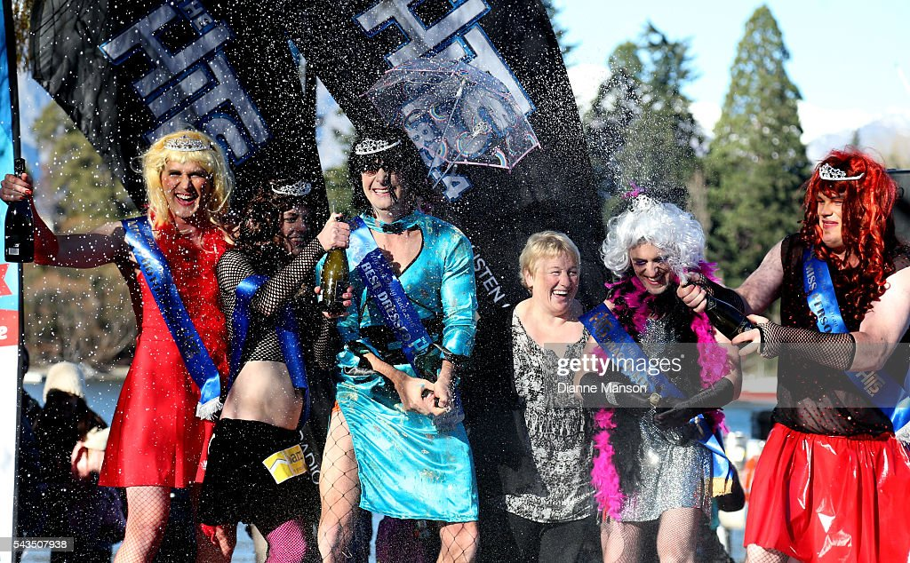 Competitors celebrate their final placings with Vanessa van Uden, Mayor of Queenstown, during the Downtown Day Drag race at the Queenstown Winter Festival on June 29, 2016 in Queenstown, New Zealand.