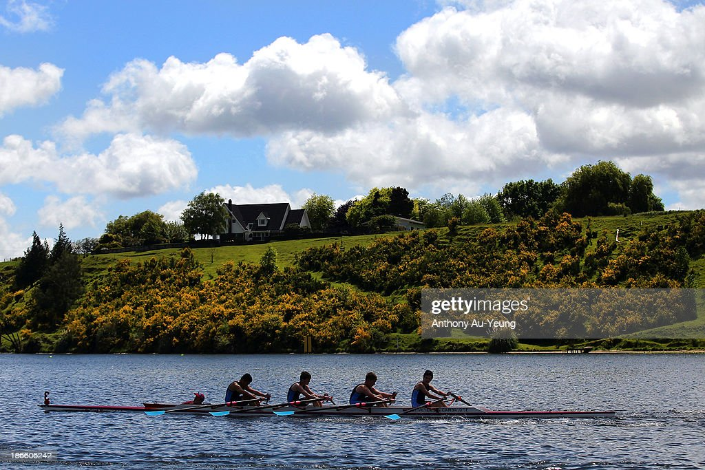 Competitors compete during the Te Awamutu Rowing Clubs Annual Club Regatta at Lake Karapiro on November 2, 2013 in Karapiro, New Zealand.