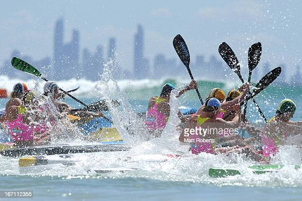 Competitors enter the water in the Under 19 Single Ski final during the 2013 Australian National Surf Lifesaving Titles on April 21 2013 on the Gold...