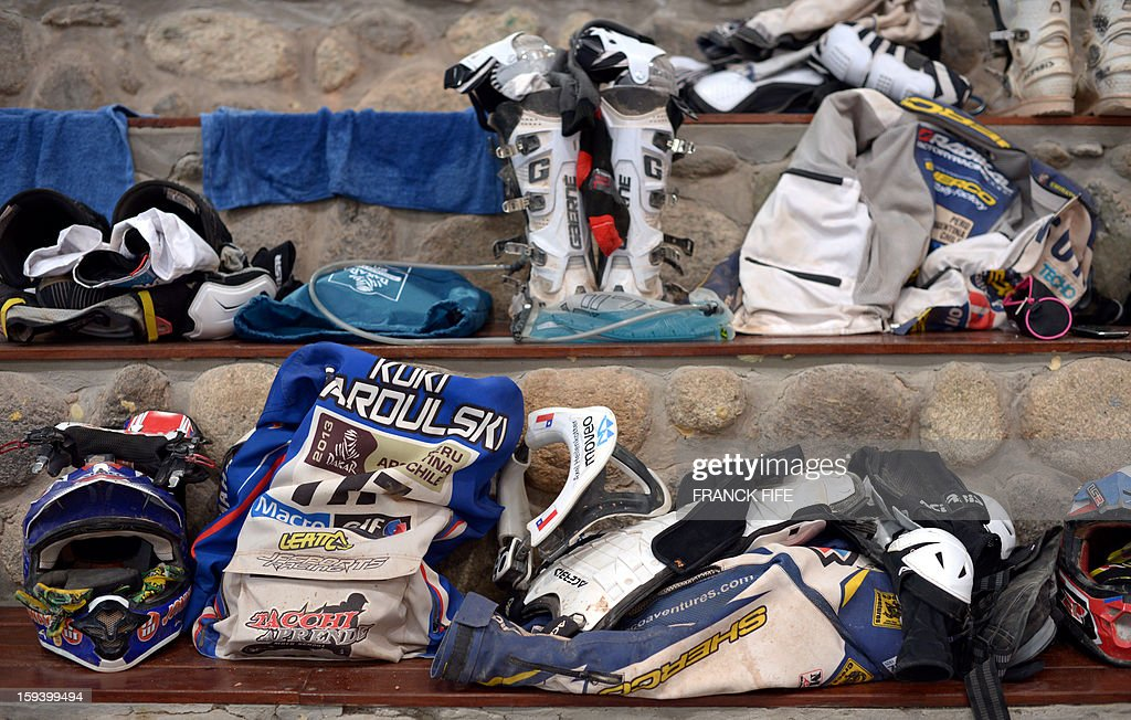 Competitors equipment is seen in Cachi after the Stage 7 of the Dakar Rally 2013 between Calama and Salta, Argentina, on January 11, 2013. The rally takes place in Peru, Argentina and Chile January 5-20.