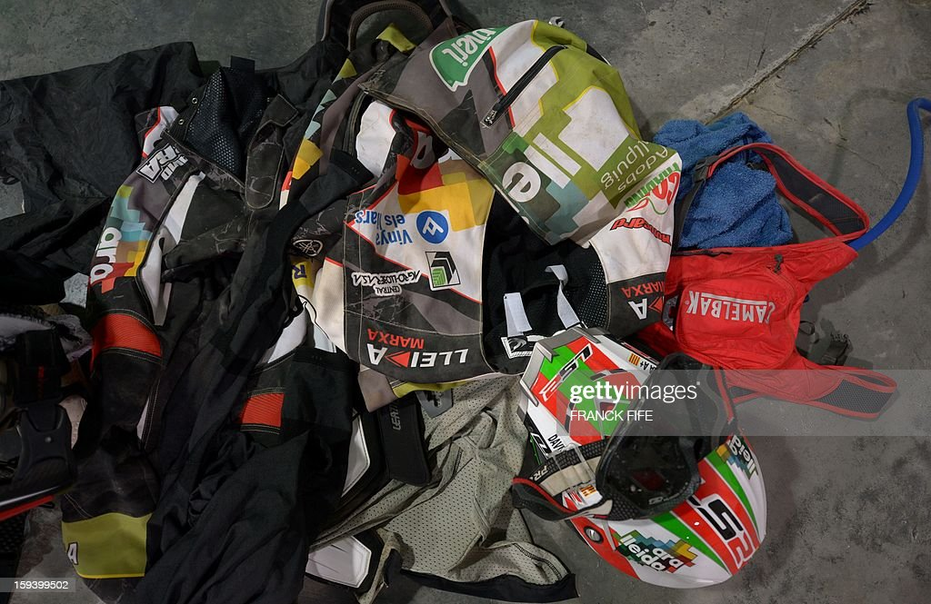Competitors equipment is seen in Cachi after the Stage 7 of the Dakar Rally 2013 between Calama and Salta, Argentina, on January 11, 2013. The rally takes place in Peru, Argentina and Chile January 5-20. AFP PHOTO / FRANCK FIFE
