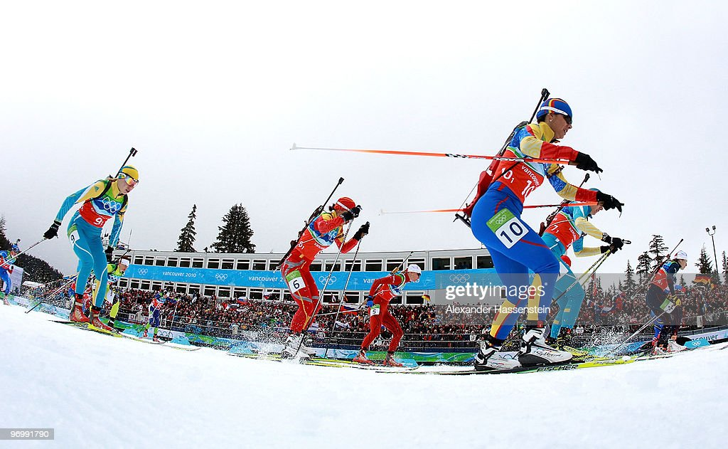 Competitors flood across the start line during the women's biathlon 4 x 6km relay on day 12 of the 2010 Vancouver Winter Olympics at Whistler Olympic Park Cross-Country Stadium on February 23, 2010 in Whistler, Canada.
