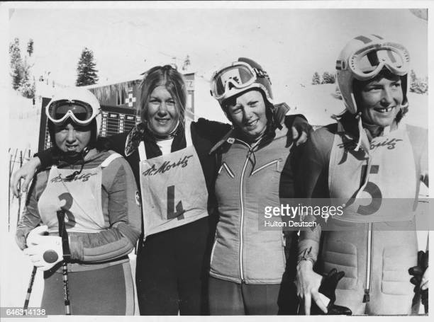 Competitors for the women's downhill title in the World Alpine Ski Championships at St Moritz Left to right Switzerland's MarieTherese Nadig who...
