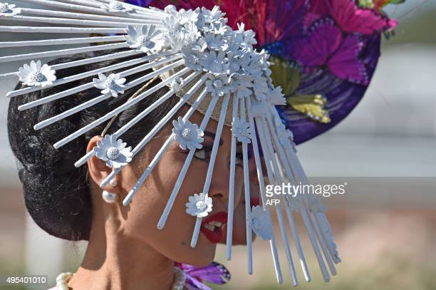 Competitors from around the world prepare for the annual Fashion on the Field competition at Flemington Racecourse on Melbourne Cup day in Melbourne...